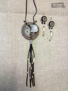 Острова. Комплекст украшений, кожа, металл, камень, 6x6