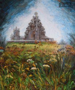 Кижский ансамбль. Холст, масло, 60x50 см