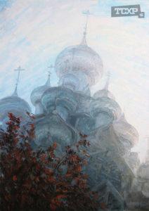 Утренний туман. Кижи, Холст, 70x50 см