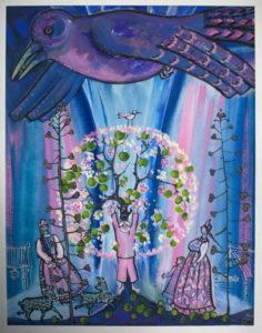 Серия Сказки С. Писахова. Яблоней цвету. Бумага, гуашь, 50х40