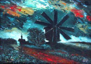 Беляков Валерий Кижи 36х61 1992г плита масло