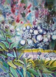 Кяппи Катерина Благоухание в саду. Бумага, акварель 76х56