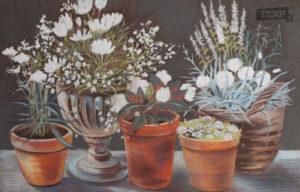 Кяппи Катерина Цветочные жемчужины в горшочках. бумага, акварель 40х70