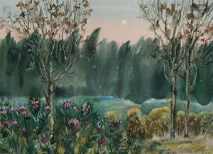 Трофимова Ксения Полнолуние, аромат трав, трели цикад акварель, бумага